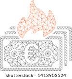 mesh burn euro banknotes...   Shutterstock .eps vector #1413903524