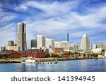 View of Yokohama, Japan. The city is the second largest in the country. - stock photo