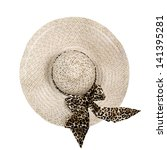 Top View Of A Round Straw Hat...