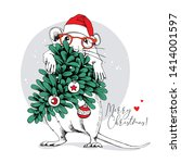 little mouse in a red santa's... | Shutterstock .eps vector #1414001597