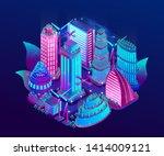 futuristic night city is... | Shutterstock .eps vector #1414009121