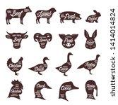 set of vector butcher shop logo.... | Shutterstock .eps vector #1414014824