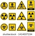danger sign. set of vector... | Shutterstock .eps vector #1414037234
