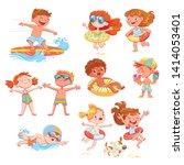 set of summer scenes with... | Shutterstock .eps vector #1414053401