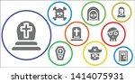 dead icon set. 9 filled dead...   Shutterstock .eps vector #1414075931