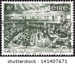 Small photo of IRELAND - CIRCA 1969: A stamp printed in Ireland issued for the 50th anniversary of Dail Eireann (1st National Parliament) shows Dail Eireann Assembly, circa 1969.