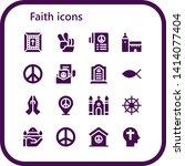 faith icon set. 16 filled faith ... | Shutterstock .eps vector #1414077404