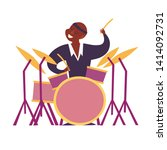 drum player vector colorful... | Shutterstock .eps vector #1414092731