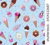 cute pop seamless pattern with... | Shutterstock .eps vector #1414112687