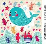 vector cartoon marine... | Shutterstock .eps vector #141411601