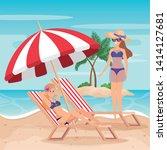 women wearing swimsuit with... | Shutterstock .eps vector #1414127681