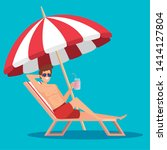 man in the tanning chair with... | Shutterstock .eps vector #1414127804