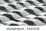 rows of new cars in port | Shutterstock . vector #1414132