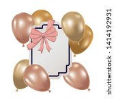 frame with helium balloons on... | Shutterstock .eps vector #1414192931