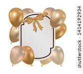 frame with helium balloons on... | Shutterstock .eps vector #1414192934