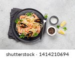 spaghetti seafood pasta with...   Shutterstock . vector #1414210694
