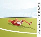 injured footballer lying on...   Shutterstock .eps vector #1414224611