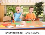 two preschoolers making some... | Shutterstock . vector #14142691