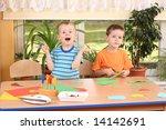 two preschoolers making some... | Shutterstock . vector #14142691