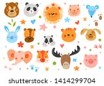 Stock vector cute funny smiling faces animals hand drawn kids illustration vector background pencil texture 1414299704