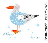 cute seagull in sea stripped... | Shutterstock .eps vector #1414299764