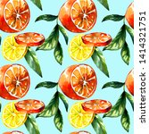 hand painted citrus ornament on ... | Shutterstock . vector #1414321751