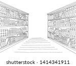 Library Shelf Graphic Black...