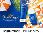 ocean safe sunscreen ads laying ... | Shutterstock .eps vector #1414345397