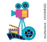 projector reel strip film...   Shutterstock .eps vector #1414348181