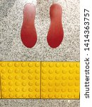 yellow tactile paving on the... | Shutterstock . vector #1414363757