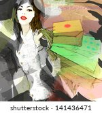 shopping.  hand painted... | Shutterstock . vector #141436471
