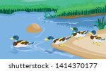 Many ducks roam in the lake and in the lake - vector - stock vector