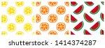 tropical fruit seamless pattern ... | Shutterstock .eps vector #1414374287