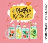 set of flat style mason jars... | Shutterstock .eps vector #1414376864