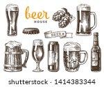 set of beer glasses  mugs ... | Shutterstock .eps vector #1414383344