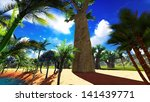 african baobabs and lush... | Shutterstock . vector #141439771