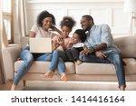 happy african parents and kids...   Shutterstock . vector #1414416164