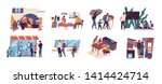 Problem of poverty and social inequality. Collection of scenes with homeless guy on street, family of refugees, children at ghetto school, poor people living in slum. Flat cartoon vector illustration.