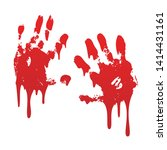 bloody hand print set isolated... | Shutterstock .eps vector #1414431161