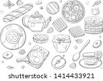black and white hand drawn... | Shutterstock .eps vector #1414433921