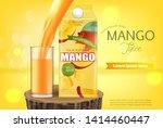 mango juice vector realistic.... | Shutterstock .eps vector #1414460447