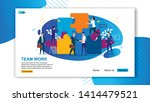 flat banner inscription team... | Shutterstock .eps vector #1414479521