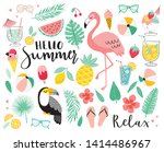 set of cute summer icons. hand... | Shutterstock .eps vector #1414486967
