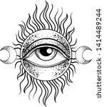 blackwork tattoo flash. eye of... | Shutterstock .eps vector #1414489244