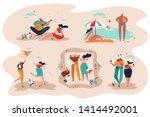 family outdoor recreational... | Shutterstock .eps vector #1414492001