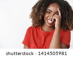 Stock photo girl laughing looking on bright side of life portrait of positive and carefree charming tender 1414505981