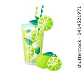 glass of mojito cocktail and... | Shutterstock .eps vector #1414521971