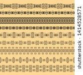 set of black borders on a beige ... | Shutterstock . vector #1414528571