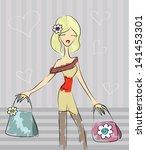 cute shopping girl | Shutterstock . vector #141453301