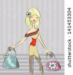 cute shopping girl | Shutterstock .eps vector #141453304
